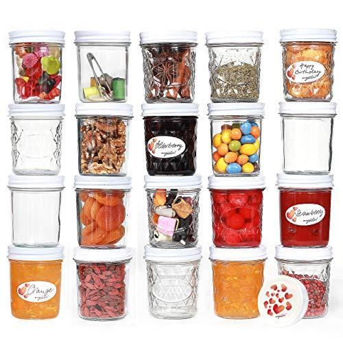 megusta!® 20er Set Einmachgläser, 200 ml, mit 20 Etiketten, Glas in Diamant-Muster mit Deckel im Herz-Design...