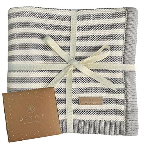 Babydecke aus * 100% * GOTS BIO Baumwolle grau/weiß für Junge Mädchen Strickdecke Baby Decke Baumwolldecke...