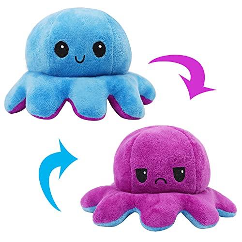 Yewrrite Octopus Plüschtier, Kinderspielzeug Octopus Toy, Oktupus Stimmungs Kuscheltier Doppelseitige Flip,...