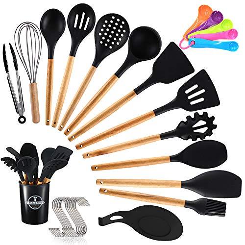 TOPSEAS Kochbesteck Küchenhelfer Set,14er Küchenutensilien silikon,Antihaftes Hitzebeständiges...