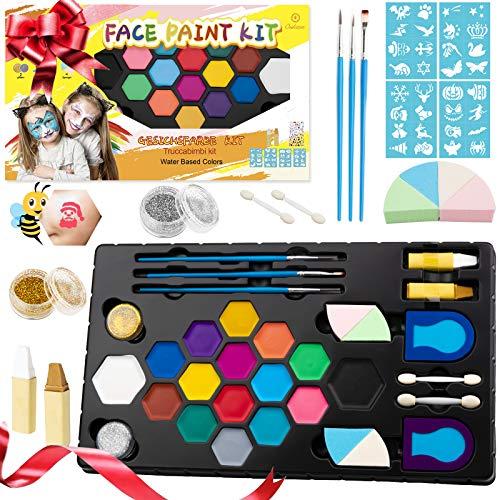 Oukzon Kinderschminke Set, 16 Wasserlösliche Face Paint Schminke kit für Kinder mit 32 Schablonen, Glitzer,...
