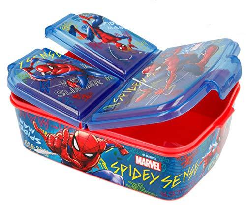 Spiderman Brotdose mit 3 Fächern, Kids Lunchbox,Bento Brotbox für Kinder - ideal für Schule, Kindergarten...