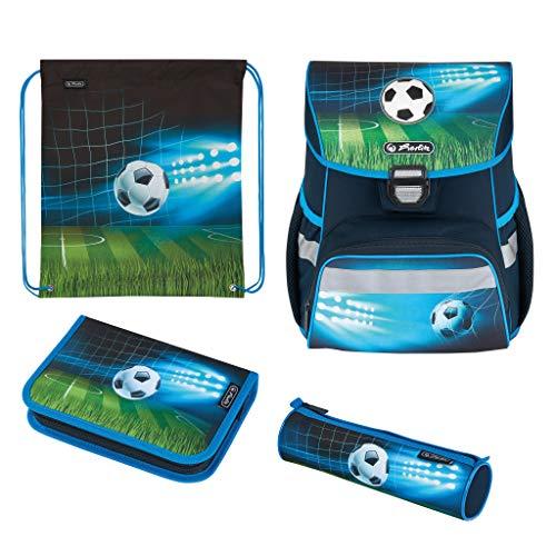 Herlitz 50025756 Schulranzen Loop Plus Soccer, mit Gummi-Applikation, 1 Stück