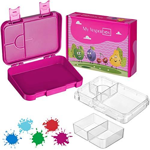 My Vesperbox – Bento Box Kinder - Lunchbox mit 4+2 Fächern - extrem robust und auslaufsicher – Brotdose...
