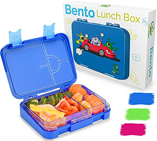 TAKWAY Kinder Bento Box mit Fächern blau | Brotbox mit Unterteilung variabel 4 oder 6 Fächer | Jausenbox...
