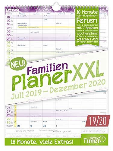 FamilienPlaner XXL 2019/2020 mit 7 Spalten, 33 x 44 cm | Wandkalender für 18 Monate: Juli 2019 - Dezember...