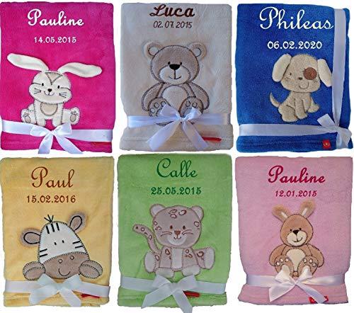 Kuschlige Babydecke bestickt mit Namen und Datum