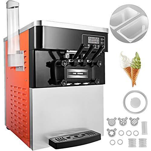 BuoQua Speiseeisbereiter Orangerot Desktop Kommerzielle Softeismaschine Eismaschine Ice Cream maker 220V...