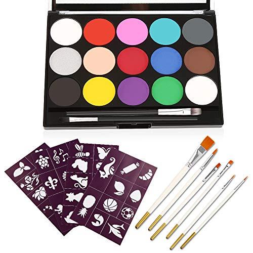 Vegena Kinderschminke Set, ist Zart und Sanft 15 Schminkfarben 8 Profipinsel 40 malerschablonen, Wasserbasiert...