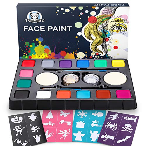 Dookey Kinderschminke Set, Hochwertiges 14 Schminkfarben Face Paint mit 24 Malerschablonen, Wasserbasiert und...