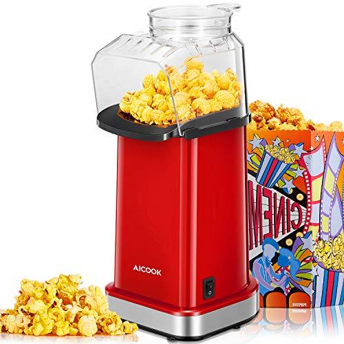 Aicook Popcornmaschine, 1400W Automatische Popcorn Maker für Zuhause, Weites-Kaliber-Design, Heissluft Ohne...