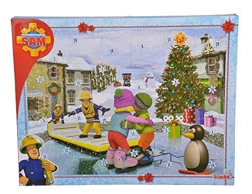 Simba 109251060 Feuerwehrmann Sam Adventskalender 2020, 24 Überraschungen, mit Weihnachtsgeschichte, ab 3...