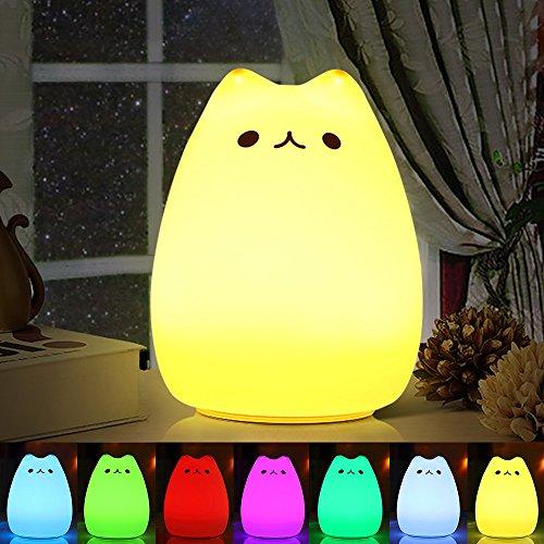 Nachtlicht Kind , omitium Silikon LED Nachttischlampe mit 7 Beleuchtung Touch USB-Ladeoption Nachtlicht Baby...