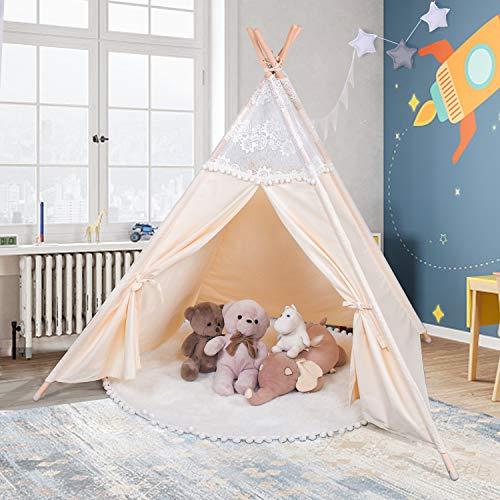 besrey Spielzelt Tipi Zelt für Kinder aus 100% Baumwolle Kinderzelt Indianerzelt mit Aufbewahrungstasche...