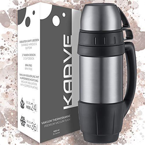 """Kaave Robuste Thermoskanne """"bigBoy"""" - 1 Liter - Isolierte, Auslaufsichere Premium Thermosflasche aus..."""