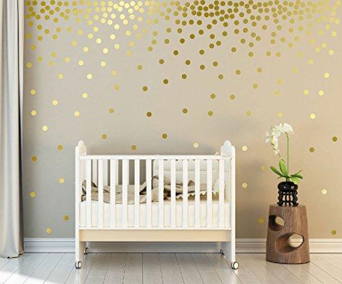 WandSticker4U®- 162x Wandtattoo Punkte in GOLD selbstklebend I goldene Aufkleber Kreise für Wände und...