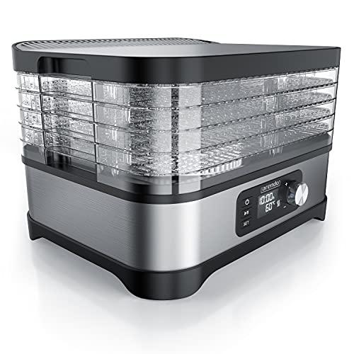 Arendo - Dörrautomat mit Temperaturregler 400 W - Edelstahl Dörrgerät für Lebensmittel Fleisch Früchte...