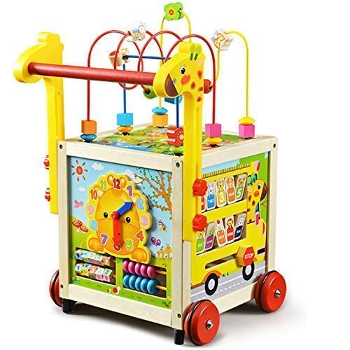 Lauflernwagen Holz Baby Gehhilfe Motorikwürfel Lauflernhilfe Walker Gehfrei Kind mit höhenverstellbarem...