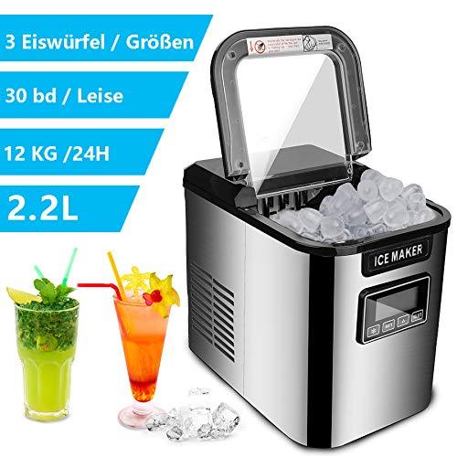 wolketon Eiswürfelmaschine, Eiswürfelbereiter Edelstahl, 3 Eiswürfel-Größen, Selbstreinigungsfunktion,...