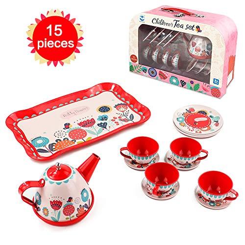 Teeservice Kinder Spielküche Kinderküche Zubehör - Metall Kaffeeservice Tee Set Spielzeug mit Koffer...