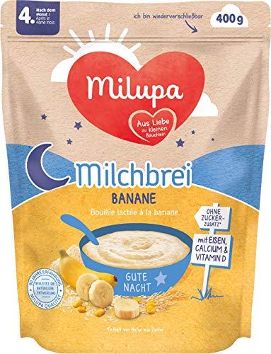 Milupa Milchbrei Banane Gute Nacht nach dem 4. Monat, 4er Pack (4 x 400 g)