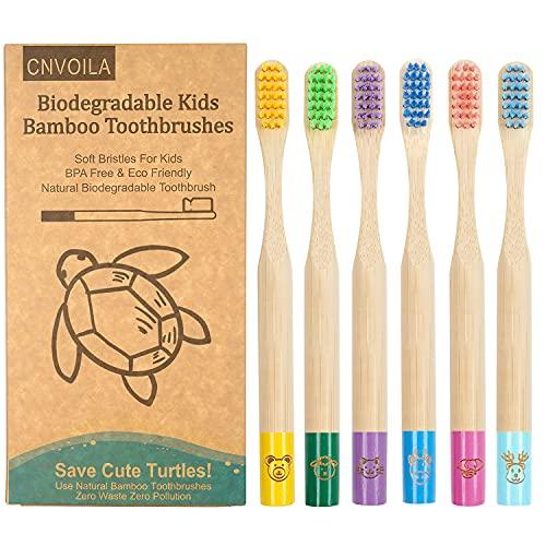 Bambus zahnbürsten kinder, Bonbon Farben bambuszahnbürste Zahnbürste Kinder, Weiche Faserborsten, 100%...