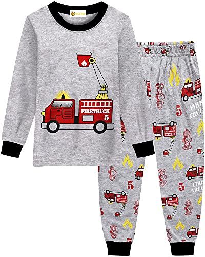 MOLYHUA Jungen Feuerwehr Schlafanzug Lange Pyjama Top und Hosen für Kinder Zweiteiliger Nachtwäsche 92 98...