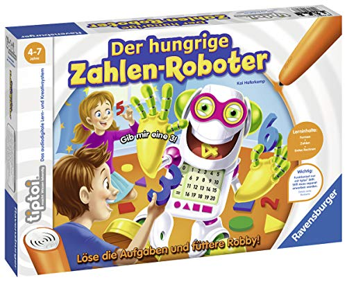 Ravensburger tiptoi Spiel 00706 Der hungrige Zahlenroboter, Lernspiel von Ravensburger ab 4 Jahren für 1-4...