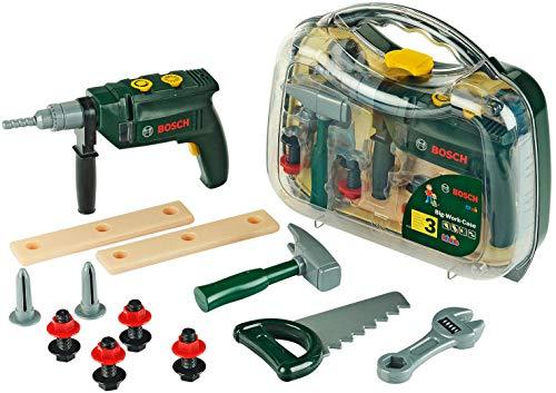 Theo Klein 8416 Bosch Werkzeugkoffer, groß I 16-teiliges Werkzeug-Set I Inkl. batteriebetriebenem Bohrer mit...
