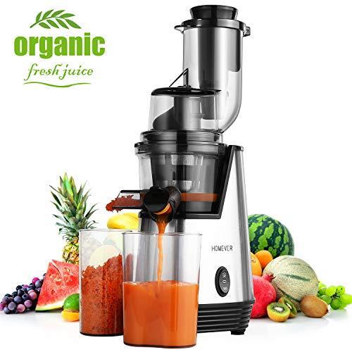 HOMEVER Entsafter Slow Juicer für Gemüse und Obst Zitruspresse automatisch Edelstahl Kunststoff