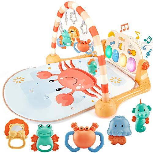 Baby Spielzeug für ab 0 3 6 12 Monate, Spielmatte Baby mit Spielbogen und Piano, Klaviermatte treten und...