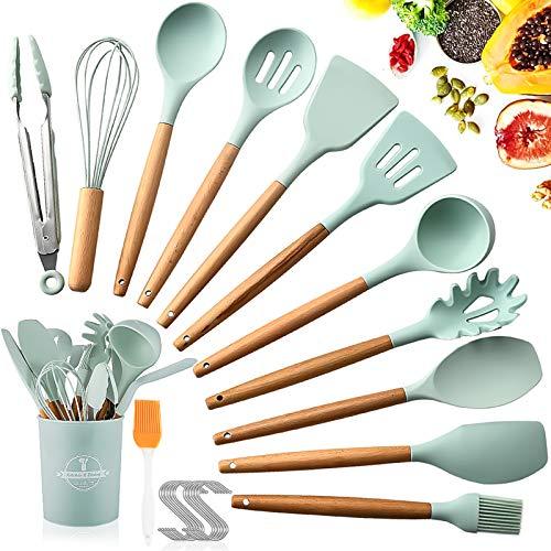 SaiXuan Küchenhelfer Set,12er Küchenutensilien silikon,Antihaftes Hitzebeständiges Küchenhelfer Set mit...
