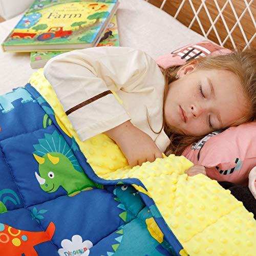 BUZIO Gewichtete Decke für Kinder, Ultra-gemütlich, gepunktet und Baumwoll-Seiten mit Cartoon-Mustern,...
