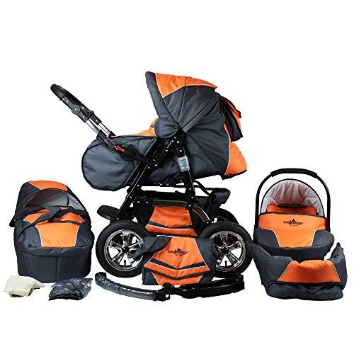 Bergsteiger Milano Kombikinderwagen + Autositz mit Travelsystem (Megaset 10 - teilig); Farbe: Orange & Grey
