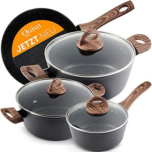 Quisn® Kochtopf Set | Induktions Töpfe Set mit Pfanne & Marmorbeschichtung | Aluguss Topfset ideal für...