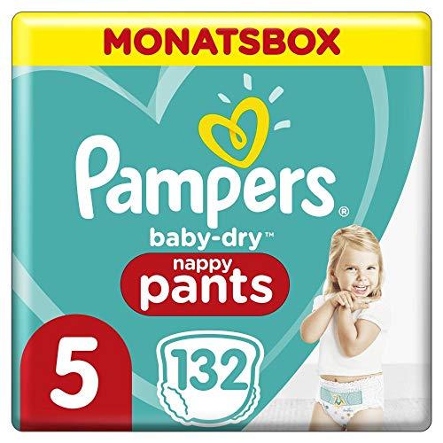 Pampers Baby-Dry Pants, Gr. 5, 12-17kg, Monatsbox (1 x 132 Höschenwindeln), Einfaches An- und Ausziehen,...