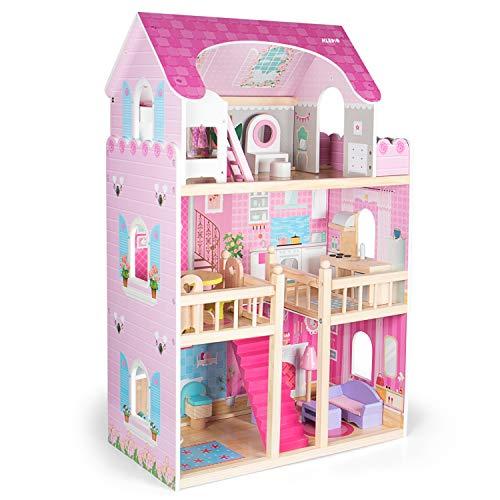 Kledio Puppenhaus aus Holz für Mädchen und Jungen ab 3 Jahren, extra große XL Puppenstube, Kinder Spielzeug...