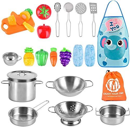 AMOYEE Küchenspielzeug Zubehör Kinderküche Kochgeschirr Edelstahl Pfannenset Schürze und Lebensmittel für...