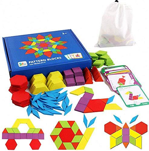 Tangram Kinder Geometrische Formen HolzPuzzles - Montessori Spielzeug Puzzle mit 155 geometrischen Formen und...
