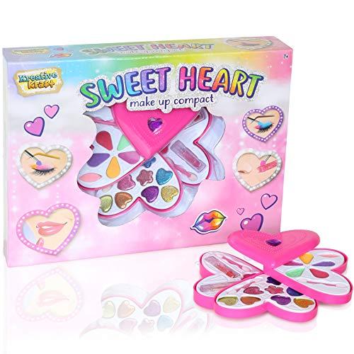 KreativeKraft Herz Make Up Kompakte Hülle Für Mädchen | Kinder Kosmetik Koffer | 20 Stück Make-up-Palette...