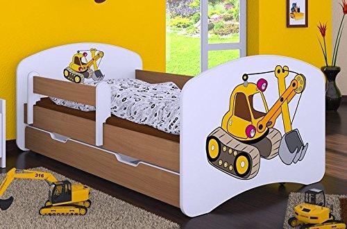 naka24 HB Kinderbett mit Matratze und Bettkasten - NEU, Verschiedene Motive Für Junge Buche (160x80cm mit...