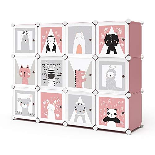 Vicco Kleiderschrank Andy Kinder modular Kinderregal Kleiderstange Steckregal (Rosa, 12 Fächer)