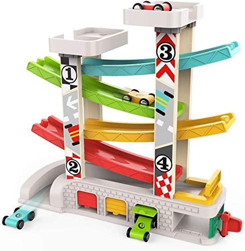 TOP BRIGHT Spielzeugauto-Set für 1-, 2-Jährige - Kleinkind-Autostrecke Auto-Rennbahn mit 4 Mini-Autos -...