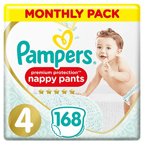 Pampers Premium Protection Windelhose Gr. 4, 168 Windelhosen, 9-15 kg, Monatspackung, sanftes Hautgefühl in...