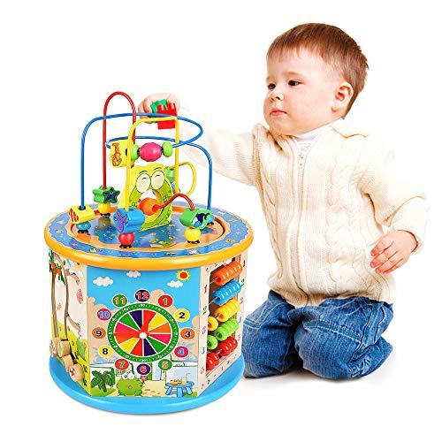 Ulmisfee Motorikspielzeug 8 in 1 Spielwürfel aus Holz Baby Spielzeug 1 Jahre Motorikwürfel Lernspielzeug...