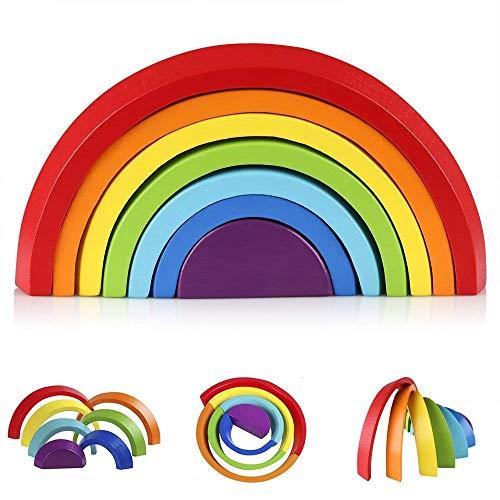 KanCai Regenbogen Holz Spielzeug Bausteine Vorschule Stapeln Spielzeug Baby Lernen Spielzeug Pädagogische...