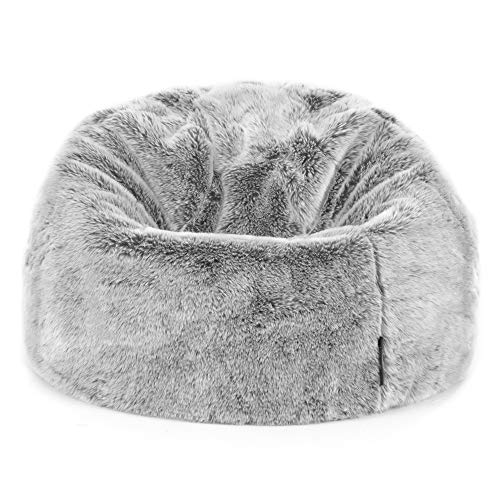 """Icon Sitzsack aus Kunstpelz """"Kenai"""" für Kinder, Arktischer Wolf Grau, Sitzsäcke für Kinder, 65cm x..."""