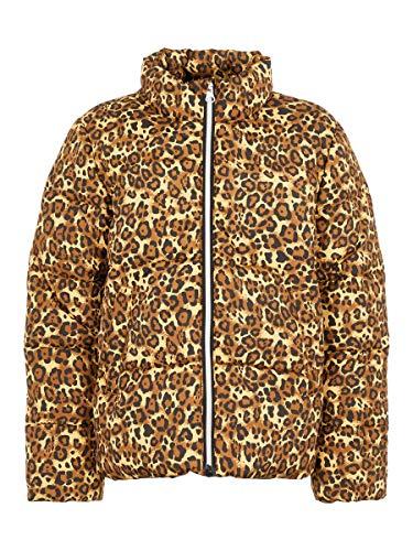 NAME IT Damen Wattierte Jacke Leopardenprint 164Bronze Brown