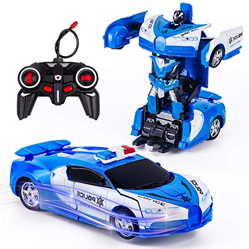 Vubkkty Transformator Ferngesteuertes Auto Spielzeug für Jungen, 2 in 1 rc Auto Kinder Roboter Spielzeug Auto...