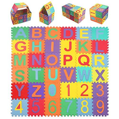 StillCool Kinder Puzzlematte, 15*15cm Kinderspielteppich mit Buchstaben von A bis Z & Zahlen von 0 bis 9 36...